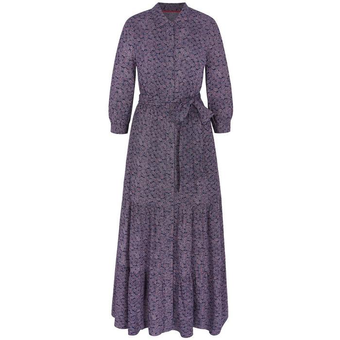 e991c543ff7 Robe-chemise longue viola motif floral spray bleu marine Boden
