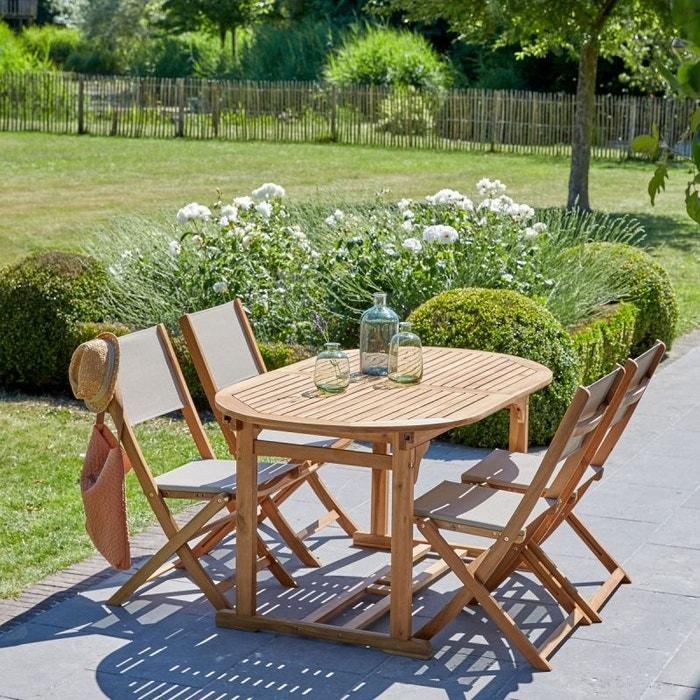 Salon de jardin en bois d\'acacia FSC et textilène 6 à 8 places