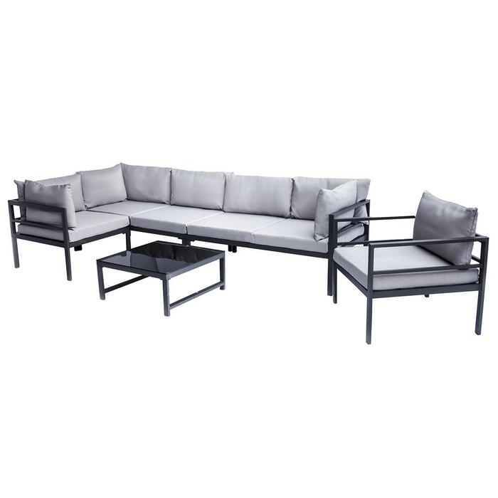 Salon de jardin en métal avec table, canapé d\'angle et fauteuil SALENTO