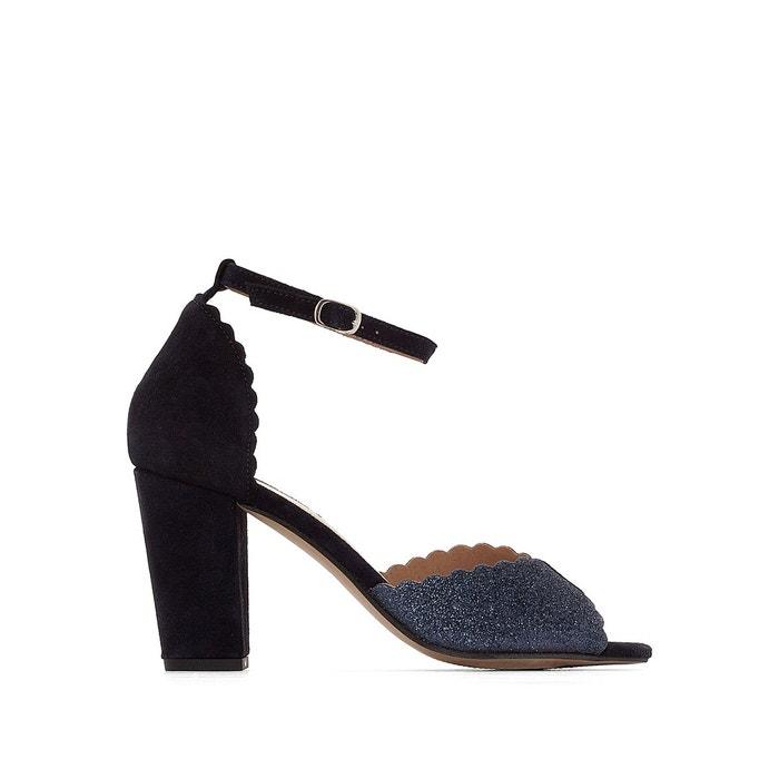 Sandales cuir talon haut détail paillettes