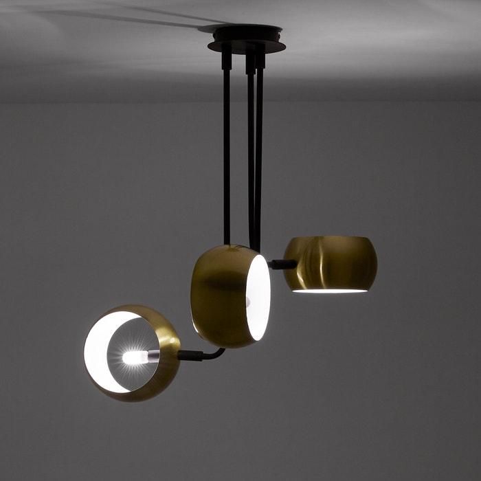 ddde225ccef Lámpara de techo con 3 brazos metálicos color negro y latón