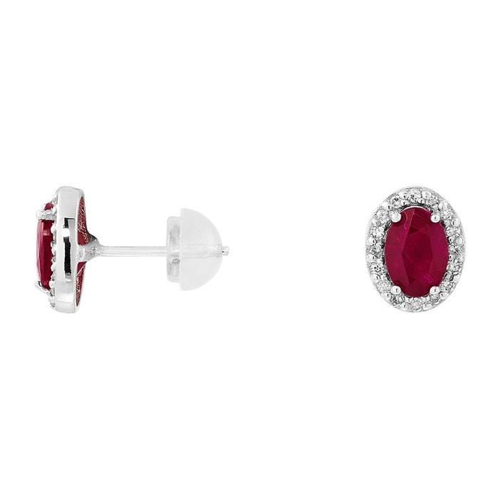 Boucles d'oreilles en or 750/1000 argenté et rubis,diamant rouge rouge Cleor | La Redoute