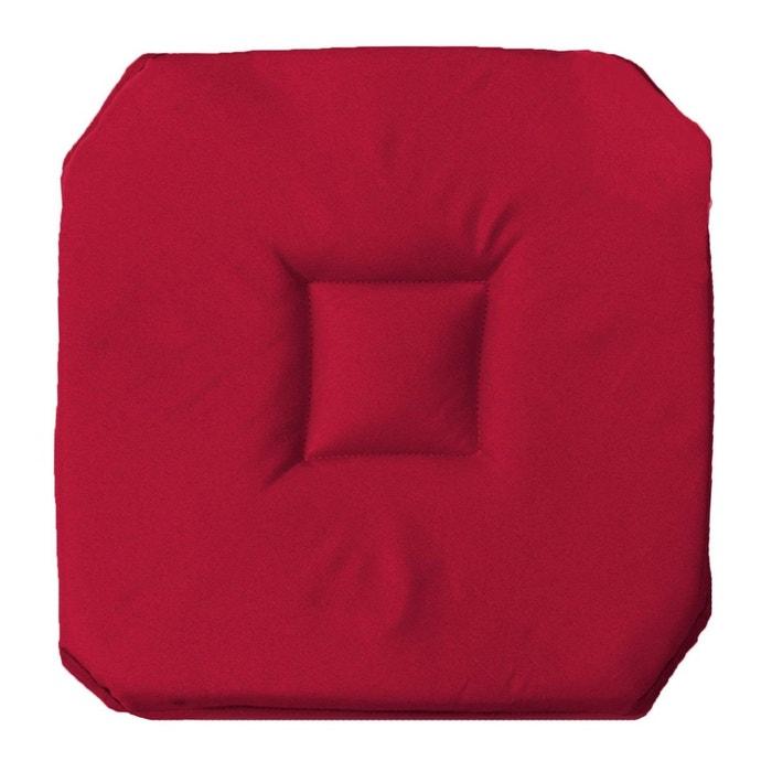 Coussin galette de chaise 4 rabats 36 x 36 cm rouge for Galette de chaise avec rabat
