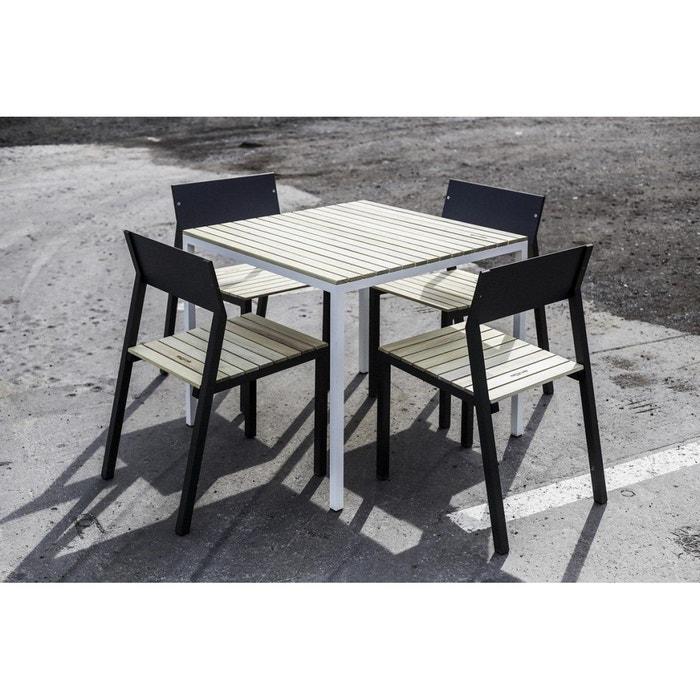 Ensemble repas CORA EGOE table carrée aluminium blanc et acacia et 4 chaises