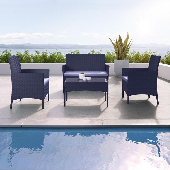 Imora salon de jardin r sine tress e noir gris - La redoute table de jardin en resine tressee ...
