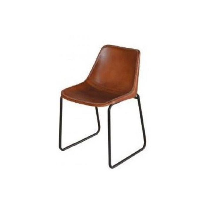 Chaise design en cuir marron senzi marron declikdeco la for Chaise cuir marron