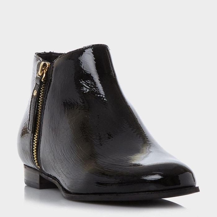 Side zip ankle boot - pander noir verni Dune London