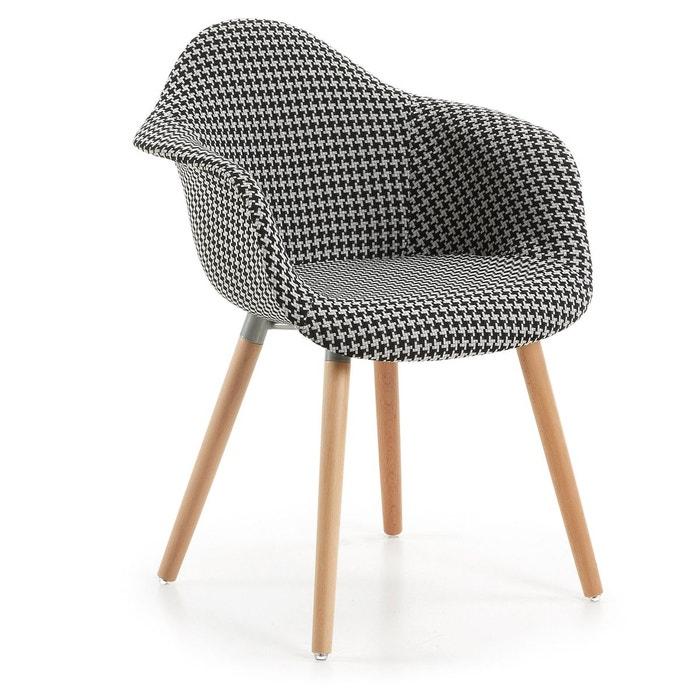 Chaise avec accoudoirs kevya noir et blanc blanco negro for Chaise kavehome