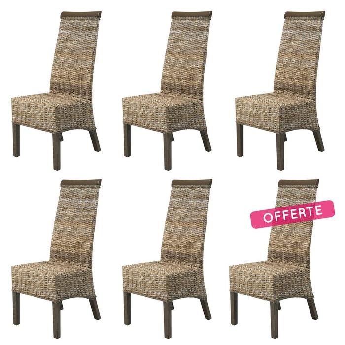 lot de 6 chaises berlin en kubu gris beige rotin design. Black Bedroom Furniture Sets. Home Design Ideas