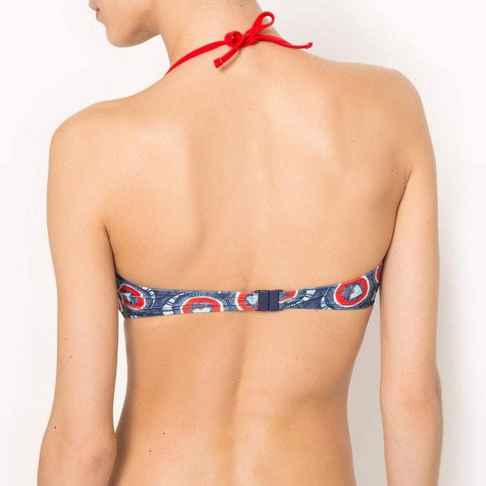 Haut de maillot de bain bandeau twisté imprimé wax, Noir/Imprimé Ronds Multicolores