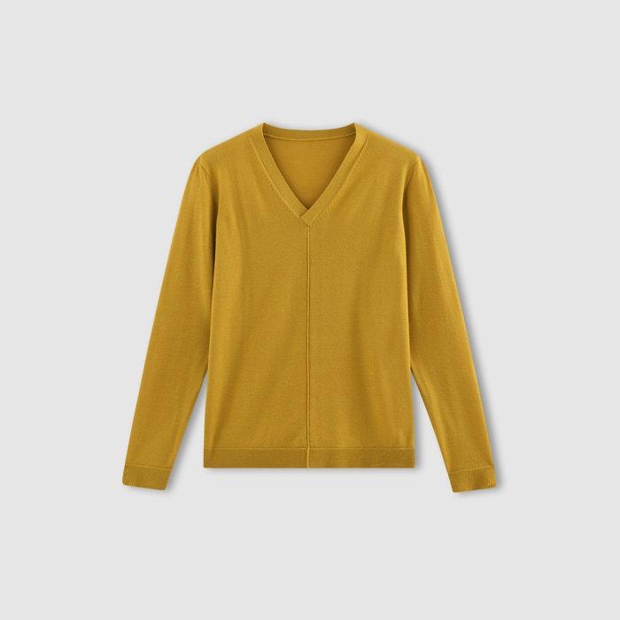 Imagen de Jersey con cuello de pico, 100% lana merina R essentiel