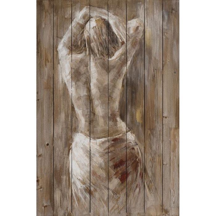 Tableau femme nue drapée bras au dessus de la tête tons beige et blancs 80x120cm beige Pier ...