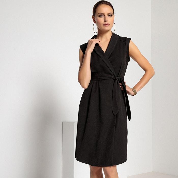 Vestido cruzado con cuello esmoquin y manga corta Anne Weyburn  dc747bef8553
