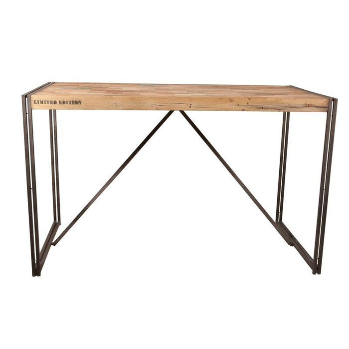 Table Haute 2 Personnes.Table Haute Mange Debout Bois Recycle Et Metal Style Industriel 150x80cm Caravelle