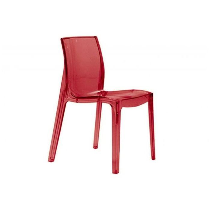 Chaise rouge transparente vienne transparent declikdeco la redoute - Chaise rouge transparente ...
