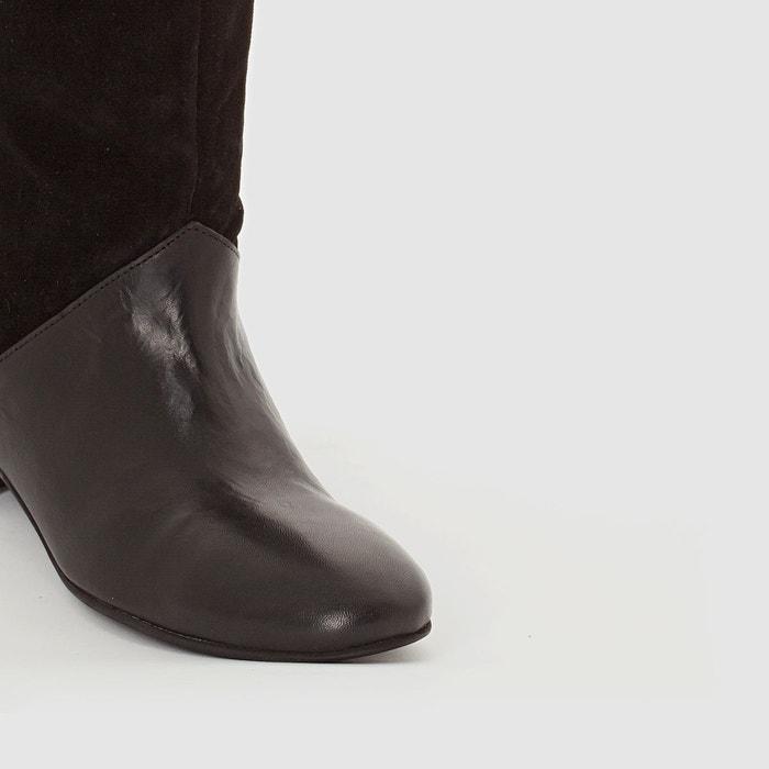 Bottes cuir bi-matière noir Mademoiselle R
