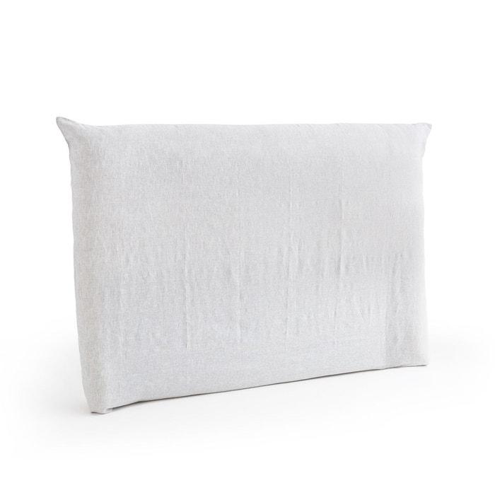 housse pour t te de lit en lin lav mereson gris blanc am pm la redoute. Black Bedroom Furniture Sets. Home Design Ideas