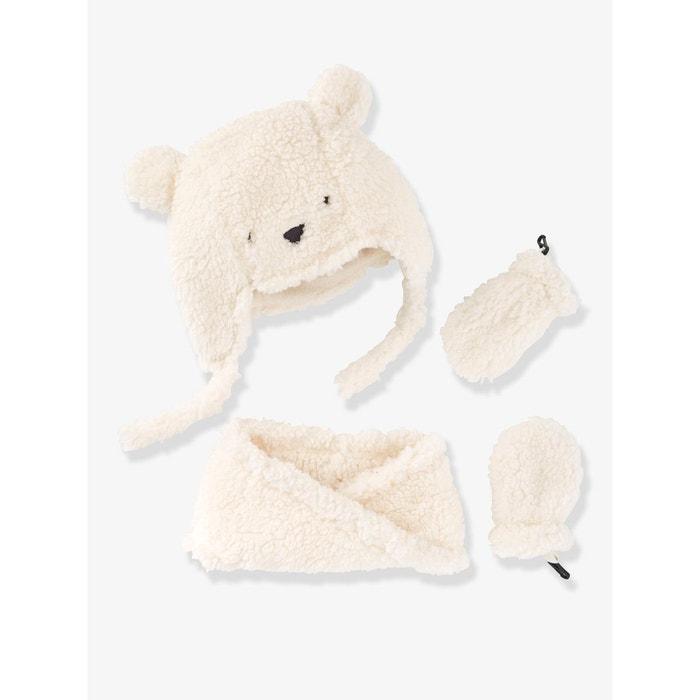 Chapka + snood + moufles bébé fille façon peluche Vertbaudet   La Redoute e298744dfbf