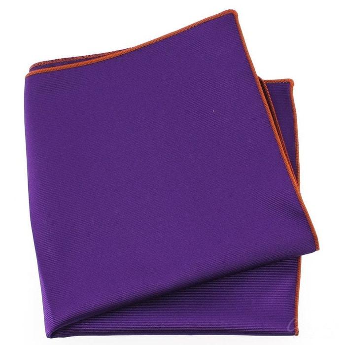 Pochette soie, mauve mammola, ourlet orange violet Tony Et Paul   La Redoute