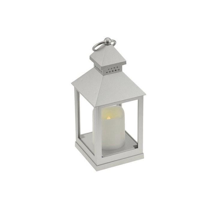 Lampe led lanterne argent autonome d 39 int rieur pile for Lanterne interieur