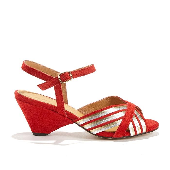 KRISTINE Leather and Velvet Open-toed Sandals  ANONYMOUS COPENHAGEN image 0
