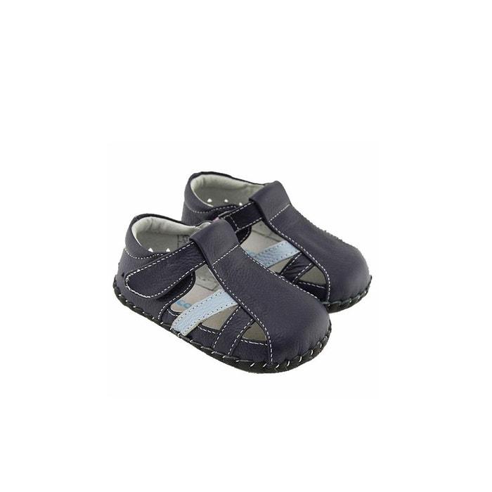 0554150ced9e2 Chaussures premiers pas cuir souple sandales fermées bleu Freycoo ...