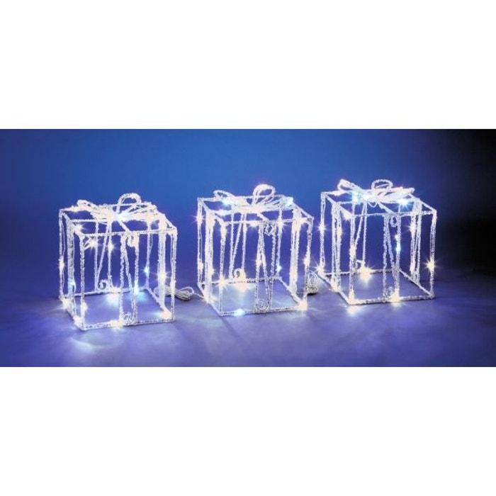 superbe illumination de no l lot de 3 cadeaux effet givr 90 led blanches flash. Black Bedroom Furniture Sets. Home Design Ideas
