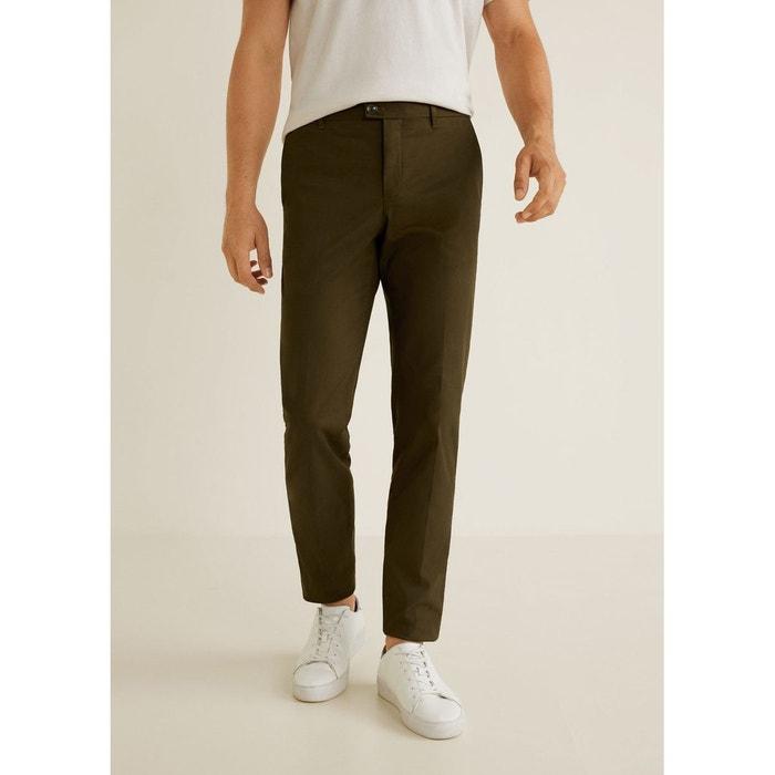 470e4143a630b Pantalon slim-fit style chino vert foncé Mango Man   La Redoute