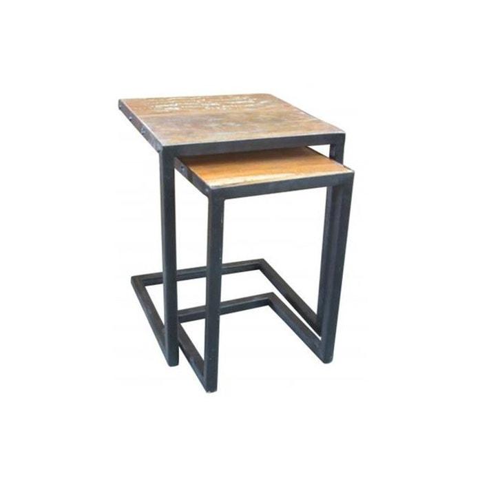 set de 2 tables gigognes en bois et m tal carmina couleur. Black Bedroom Furniture Sets. Home Design Ideas