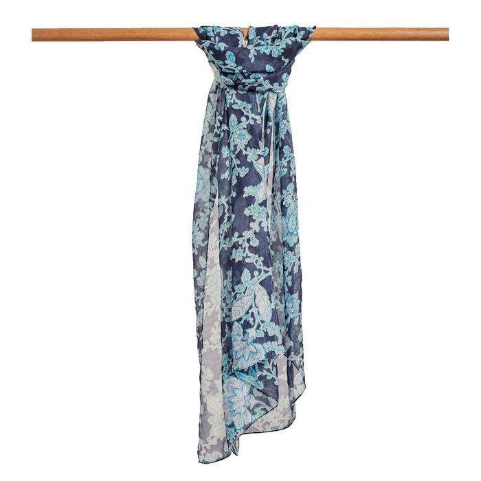 96ad8ba1b3fa8 Foulard fleuri pure soie imprimé fleuri imprimé fleuri bleu nuit Woolovers    La Redoute