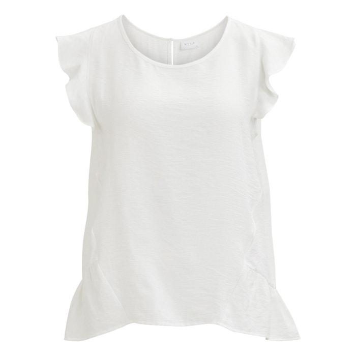 hombros sin los VILA mangas en cuello Blusa y redondo volantes con qZ1wvZf