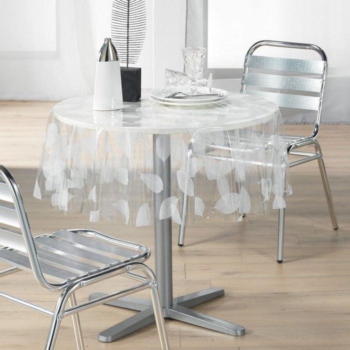 Toile cir e nappe de protection transparente d 140 cm ronde feuille blanc douceur d - Protection transparente table ...