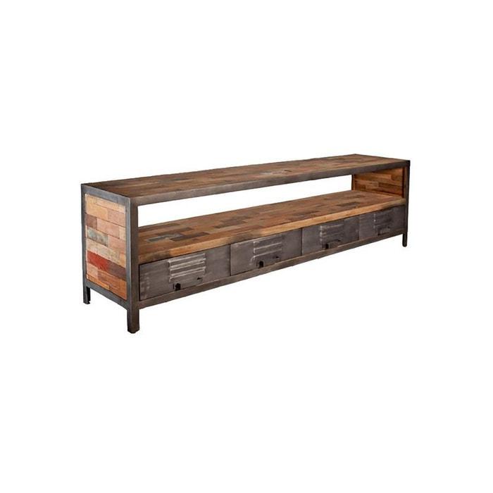meuble tv bois recycl 1 niche et 4 tiroirs mtal 208x45x60cm caravelle pier import image 0