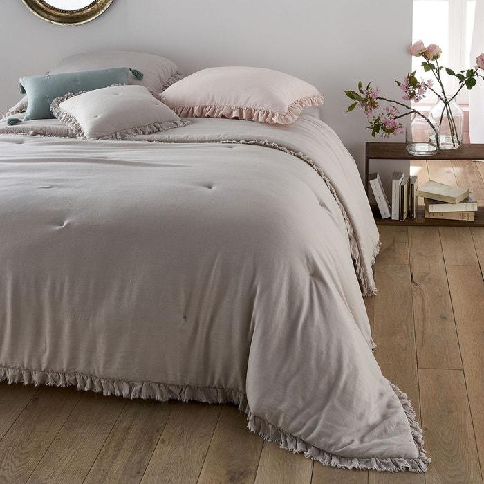 couvre lit lin et viscose nillow beige galet la redoute interieurs la redoute. Black Bedroom Furniture Sets. Home Design Ideas