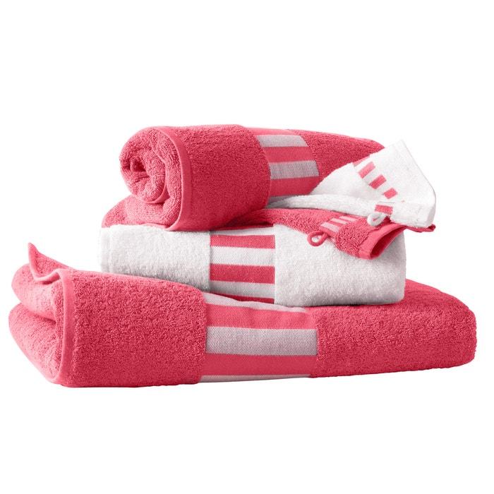 lot de 1 drap de bain 2 serviettes 2 gants 420g m2 la redoute interieurs rouge grenadine. Black Bedroom Furniture Sets. Home Design Ideas