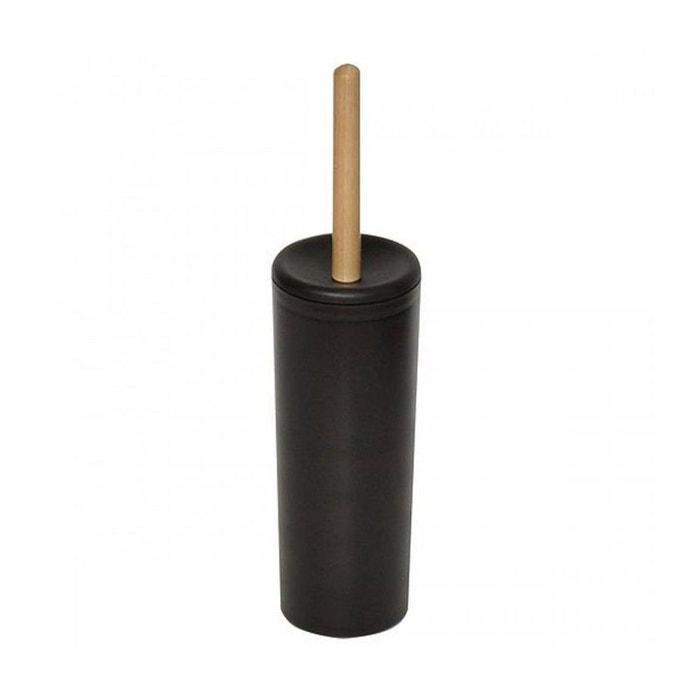 Brosse Toilette Noire balai brosse wc en plastique noir et manche bois noir wadiga | la
