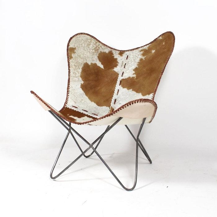 Fauteuil Papillon En Cuir Design Vache M Beige Made In Meubles - Fauteuil papillon cuir