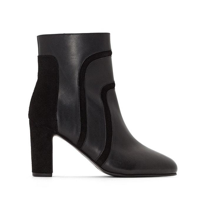 Boots en cuir bi-matières à talons haut noir La Redoute Collections   La  Redoute ad01a577bf90