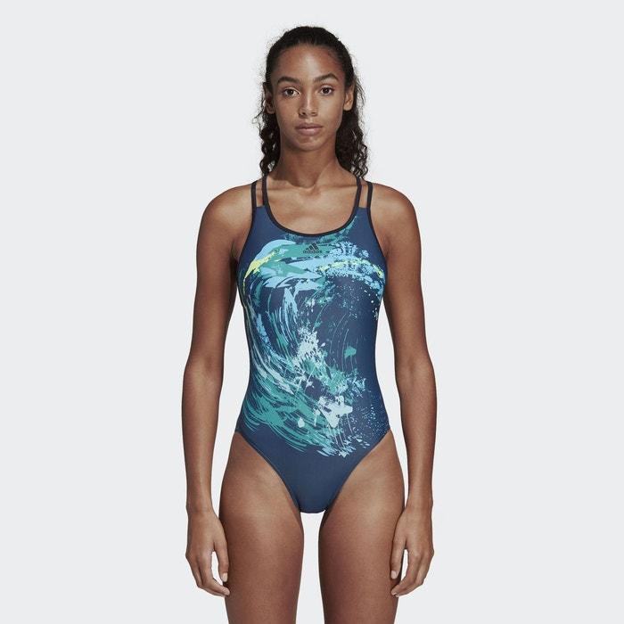 c54d48b8420f3 Maillot de bain 1 pièce piscine imprimé hawaï Adidas Performance   La  Redoute