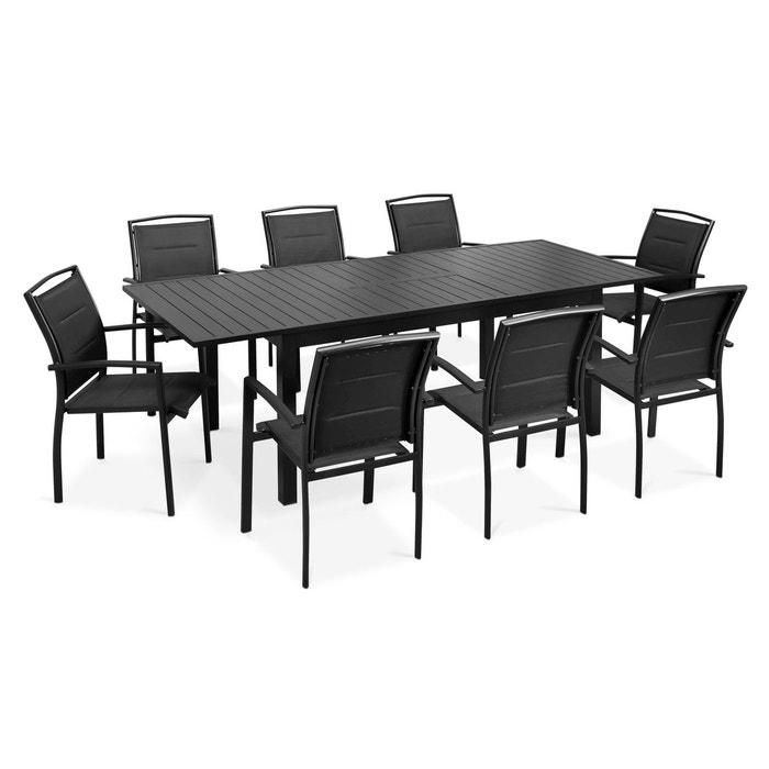 Table de jardin extensible et 8 fauteuils, butterfly gris Oviala ...