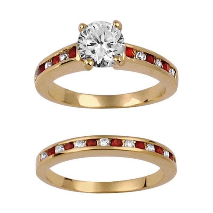 Ensemble 2 bagues anneaux femme solitaire & alliance oxyde de zirconium rouge & blanc plaqué or 750 couleur unique So Chic Bijoux | La Redoute Dernière Ligne Pas Cher B6XmRzY