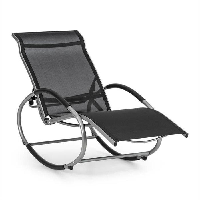 blumfeldt santorini fauteuil bascule chaise longue aluminium polyester noir blumfeldt image 0 - Fauteuil Chaise Longue