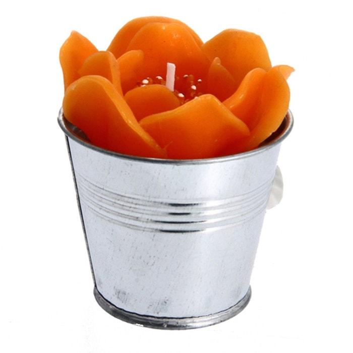 Bougie en forme de fleur pot en zinc orange orange for Comptoir de la forme la garde