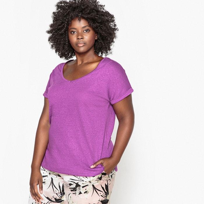 T-shirt con scollo a V cotone / lino  CASTALUNA image 0