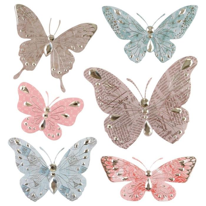 6 stickers 3d papillon taupe et rose atmosphera