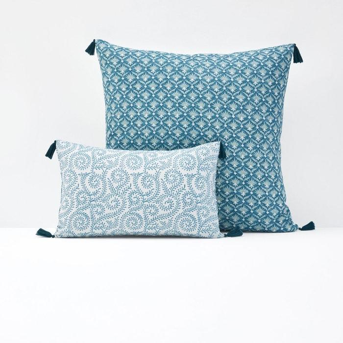 housse de coussin ou d oreiller odisha bleu paon bleu c ladon la redoute interieurs la redoute. Black Bedroom Furniture Sets. Home Design Ideas
