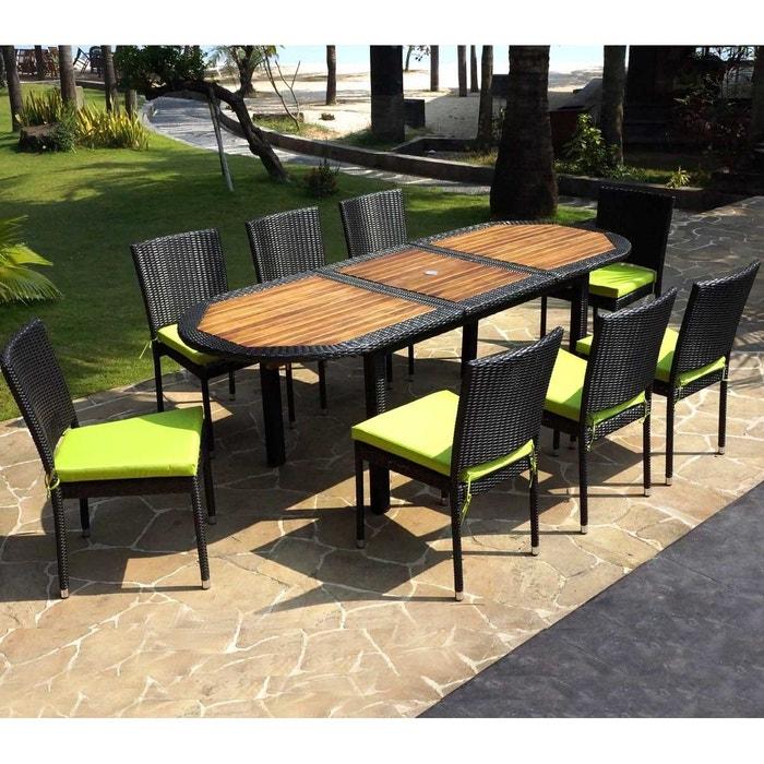 Salon de jardin ensemble table teck et résine tressée et 8 chaises ...