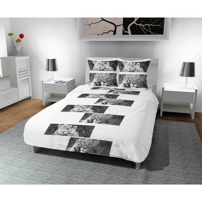 parure de lit microfibre lions blanc blanc terre de nuit. Black Bedroom Furniture Sets. Home Design Ideas