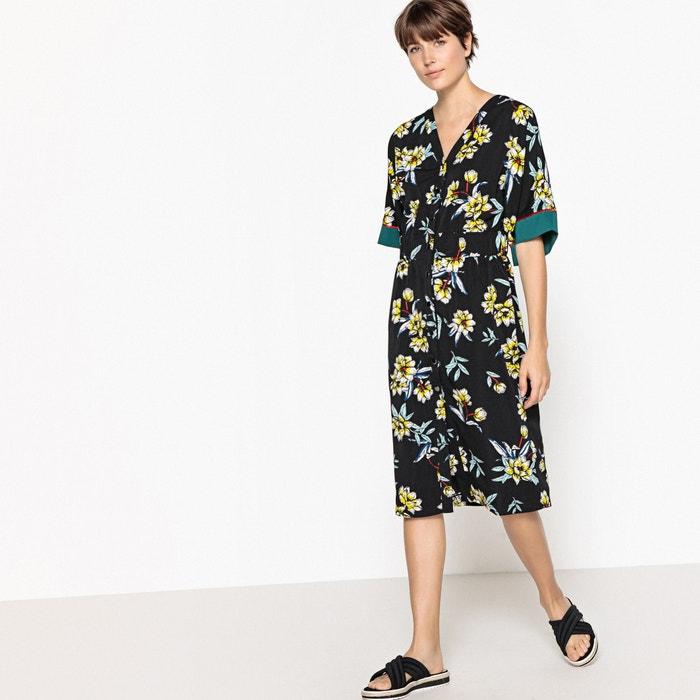 de flores Vestido Collections kimono La Redoute abotonado con estampado wxzA0wgZYq