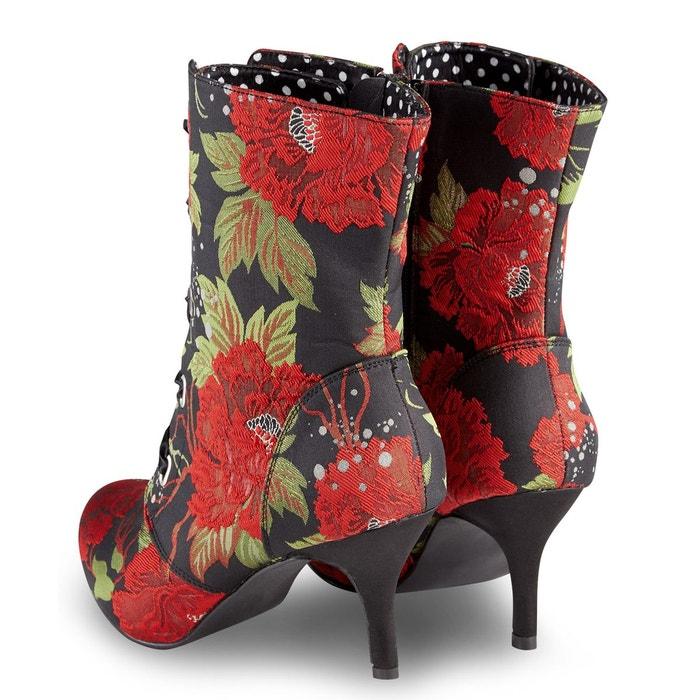 Bottine à talon haut avec lacets en satin et détails motifs floraux pour  femme JOE BROWNS